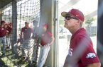Arkansas coach Dave Van Horn watches batting practice prior to an SEC Tournament game against Ole Miss on Friday, May 24, 2019, in Hoover, Ala.
