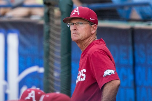 Dave Van Horn, Arkansas head coach, looks on in the 4th inning vs Georgia Thursday, May 23, 2019, during the SEC Baseball Tournament at Hoover Metropolitan Stadium in Hoover, Ala.
