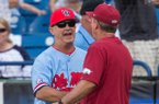 Mike Bianco (left), Ole Miss head coach, shakes hands with Dave Van Horn, Arkansas head coach, after Ole Miss defeated Arkansas 3-2 Friday, May 24, 2019, during the SEC Baseball Tournament at Hoover Metropolitan Stadium in Hoover, Ala.