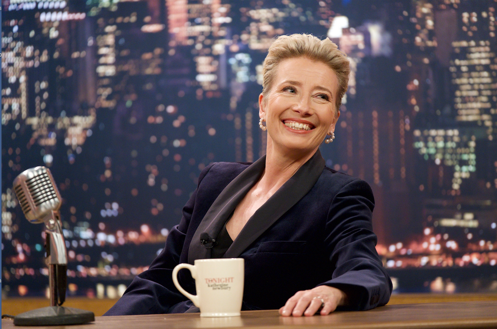 """Emma Thompson works on a late-night television show in """"Late Night."""" (Amazon Studios)"""