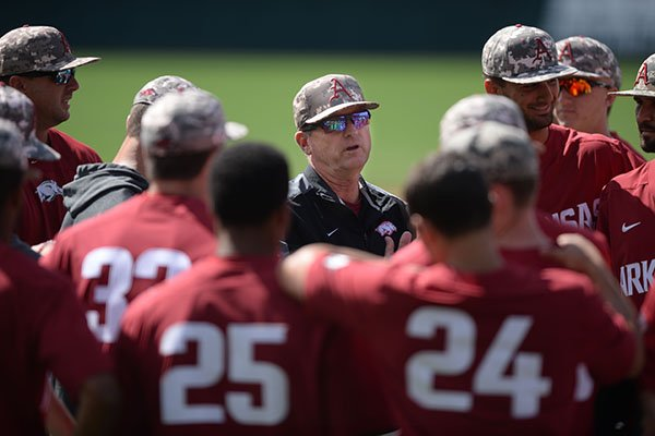 Arkansas coach Dave Van Horn speaks Thursday, May 30, 2019, with his team during practice and walk-through ahead of today's NCAA Baseball Regional at Baum-Walker Stadium in Fayetteville.