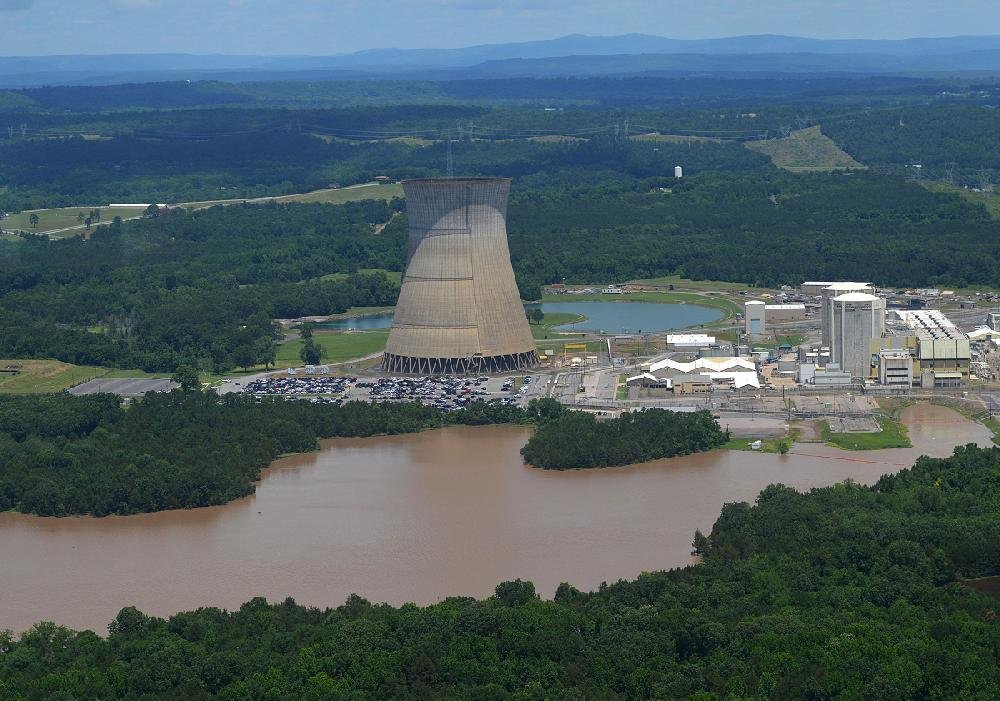 FILE — Floodwaters flow near the Arkansas Nuclear One power plant on Lake Dardanelle outside Russellville in this May 30, 2019 file photo.