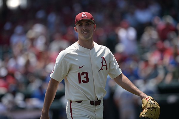 Arkansas starter Connor Noland smiles Friday, May 31, 2019, as he leaves the field after the third out of the Central Connecticut fifth inning during the Razorbacks' 11-5 win at Baum-Walker Stadium in Fayetteville.
