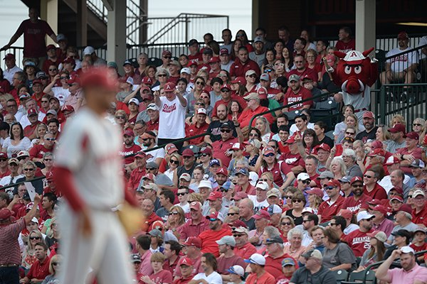 Fans are shown during an NCAA regional game between Arkansas and TCU on Saturday, June 1, 2019, in Fayetteville.