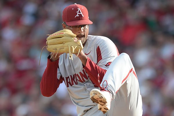 Arkansas starter Isaiah Campbell delivers to the plate Saturday, June 1, 2019, during the first inning against TCU at Baum-Walker Stadium in Fayetteville.