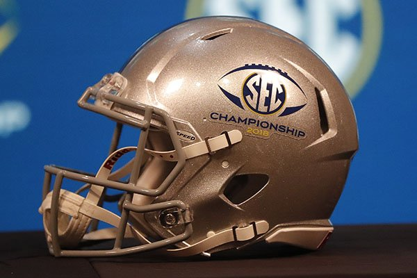 A SEC Championship helmet is seen, Friday, Nov. 30, 2018, in Atlanta. Georgia and Alabama will play Saturday in the Southeastern Conference championship NCAA college football game. (AP Photo/John Bazemore)