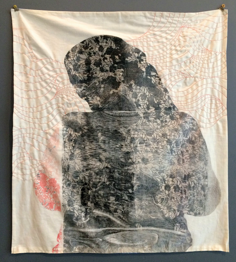 """Transform"" is the title of Melissa Gill's relief with stitching on cotton. (Courtesy of Gallery 26)"