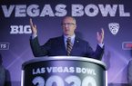SEC Commissioner Greg Sankey speaks during a news conference to announce changes to the Las Vegas Bowl football game, Tuesday, June 4, 2019, in Las Vegas. The Las Vegas Bowl is moving to a new, bigger stadium next year, and will feature teams from the SEC or Big Ten conferences against a Pac-12 contender. (AP Photo/John Locher)