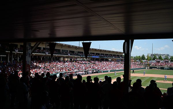 The crowd is shown during an NCAA super regional game between Arkansas and Ole Miss on Saturday, June 8, 2019, at Baum-Walker Stadium in Fayetteville.