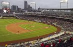 This file photo shows Creighton hosting Nebraska in an NCAA college baseball game in Omaha, Neb., at the home of the College World Series, TD Ameritrade Park. (AP Photo/Nati Harnik)