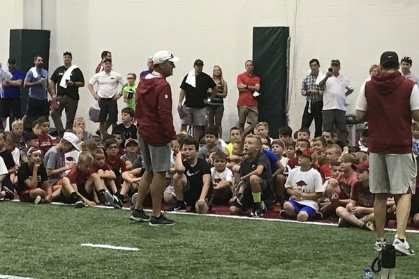 Arkansas Coach Chad Morris addresses more than 240 at Monday's Youth Camp.
