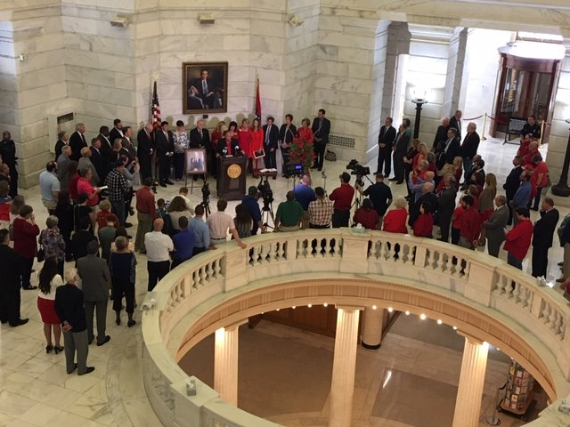 A crowd gathered at the state Capitol on Tuesday for a remembrance ceremony for former state Sen. Linda Collins-Smith.