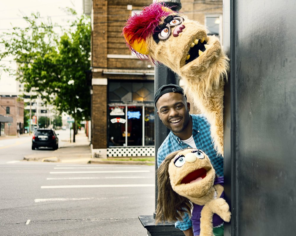 Avenue Q at the Weekend Theater: Willie Lucius (Gary Coleman) and his friends Trekkie and Kate Monster. Special to the Democrat-Gazette