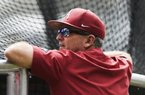 NWA Democrat-Gazette/CHARLIE KAIJO Arkansas Razorbacks head coach Dave Van Horn watches batters during a practice, Friday, June 14, 2019 at the TD Ameritrade Park in Omaha, Neb.