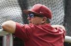 Arkansas coach Dave Van Horn watches batting practice Friday, June 14, 2019, at TD Ameritrade Park in Omaha, Neb.