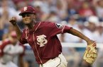 Florida State's J.C. Flowers (8) celebrates after the final out against Arkansas in an NCAA College World Series baseball game in Omaha, Neb., Saturday, June 15, 2019. AP Photo/Nati Harnik)