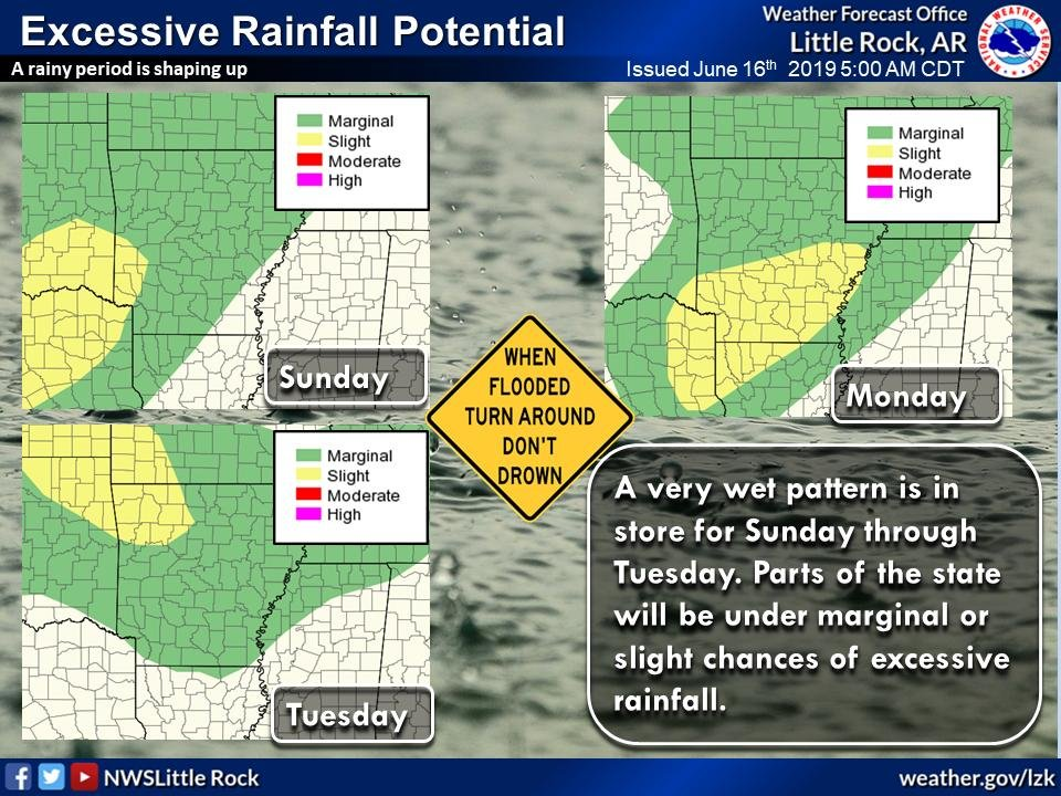 This National Weather Service graphic shows predicted excessive rainfall across the state.
