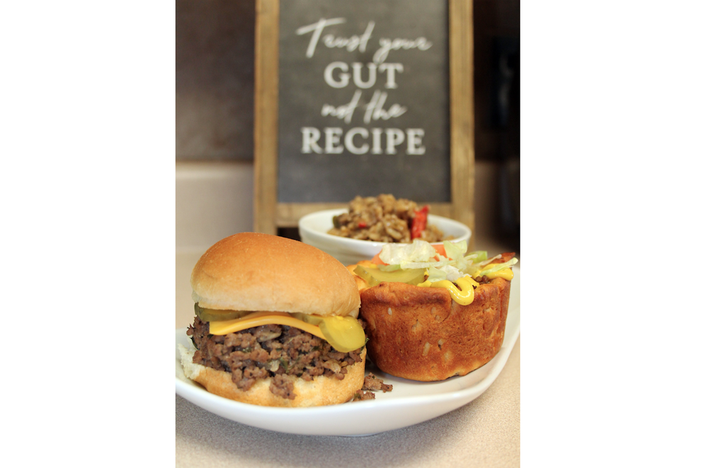 Three dishes from one package of ground beef -- Sloppy Marvin (front), Bacon Cheeseburger Cup and Beefy Brown Rice -- made by cookbook author Marvin Williams. Photo by Sean Clancy