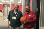 Mark O'Neal (right) replaces head athletic trainer Dave England, who completed his 36th season as the Razorbacks' basketball trainer in 2018-19.