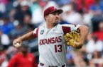 Arkansas Razorbacks Connor Noland (13) throws a pitch during a baseball game, Monday, June 17, 2019 at the TD Ameritrade Park in Omaha, Neb. The Arkansas Razorbacks fell to Texas Tech 5-4 ending their College World Series run