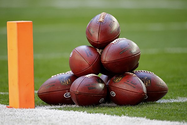 Footballs are stacked next to the pylon prior to an NFL football game between the Arizona Cardinals and the Los Angeles Rams, Sunday, Dec. 23, 2018, in Glendale, Ariz. (AP Photo/Rick Scuteri)