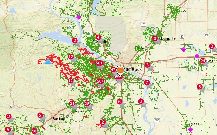 Power restoration times for Arkansas cities