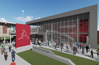 An artist's rendering shows the exterior of a proposed baseball operations center on the grounds of Baum-Walker Stadium in Fayetteville.