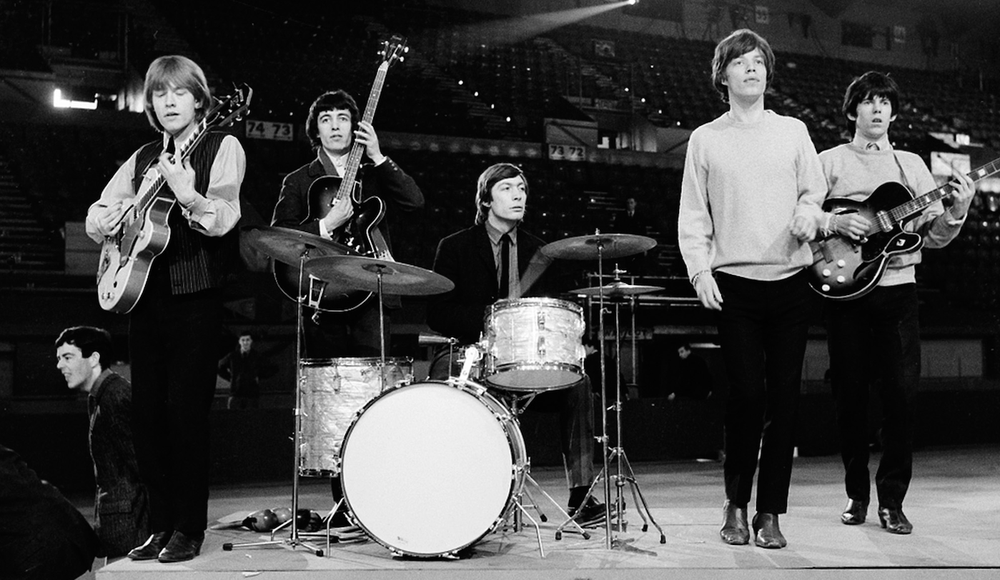 The Rolling Stones rehearse in 1964; group members are Brian Jones (from left), Bill Wyman, Charlie Watt, Mick Jagger and Keith Richards. (AP)