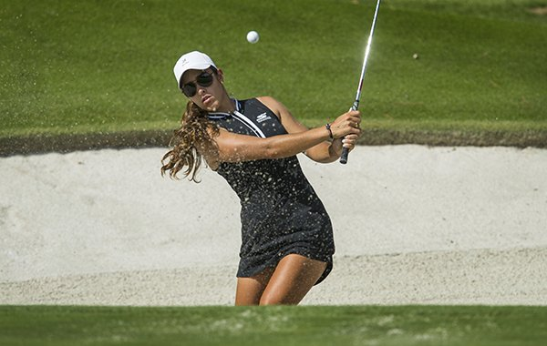Maria Fassi hits from a bunker on hole No. 7 Tuesday, June 25, 2019, during the practice round for the LPGA Walmart Northwest Arkansas Championship at Pinnacle Country Club in Rogers.