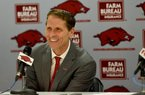 NWA Democrat-Gazette/DAVID GOTTSCHALK Eric Musselman speaks at a press conference after his introduction as the new head coach of men's basketball at the University of Arkansas by Athletic Director Hunter Yurachek Monday, April 8, 2019 in Bud Walton Arena on the campus in Fayetteville. During the previous four seasons, Musselman coached the University of Nevada in Reno to a 110-34 record.