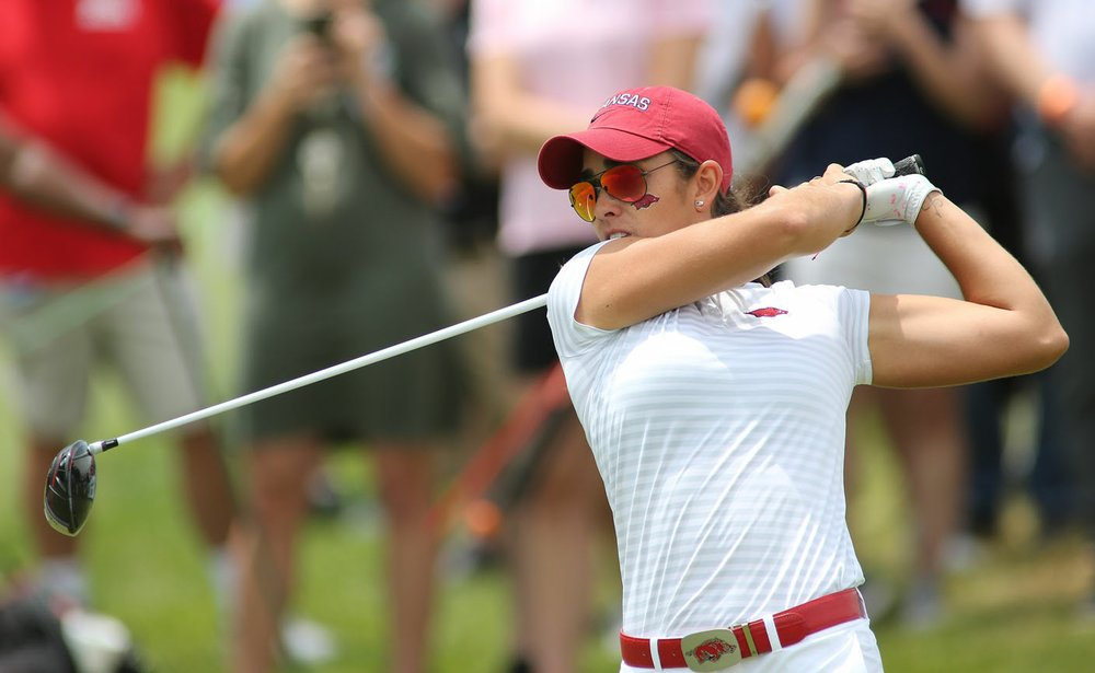 Unviversity of Arkansas' Maria Fassi Monday, May 20, 2019, on the first tee during the NCAA women's golf championship Monday the Blessings Golf Club in Johnson.