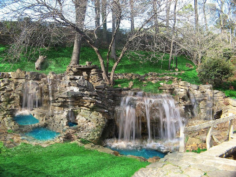 A photo rendering illustrates what the cascading waterfall at the Old Mill in North Little Rock will look like when it's finished.