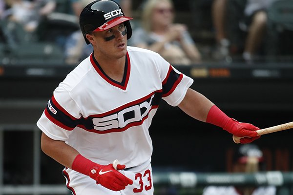 Chicago White Sox catcher James McCann (33) stands in the batters box during a baseball game against the Minnesota Twins Sunday, June 30, 2019, in Chicago. (AP Photo/Jeff Haynes)