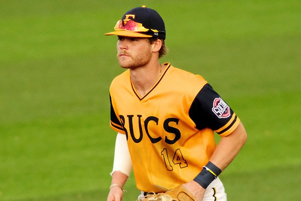 East Tennessee State's Cullen Smith (14) during an NCAA college baseball game against Wofford, Friday, April 19, 2019, in Johnson City, Tenn. (AP Photo/Shawn Millsaps)