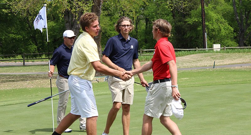"The Sentinel-Record/File photo GAC leaving the Spa City: Henderson State junior Trey DePriest, right, shakes hands with Arkansas Tech's Andre Jacobs at the end of their round of golf in April at the Great American Conference championships as Southwestern Oklahoma State's Gustavo Tineo steps in. The league announced Wednesday that the GAC Golf Championships, which has been held at Hot Springs Country Club since its inception, will not be played in Hot Springs for the 2019-2020 season but in Duncan, Okla. GAC Commissioner Will Prewitt said that the decision was made to move to Oklahoma as ""a lot of coaches were wanting to get to where travel is not as significant."""