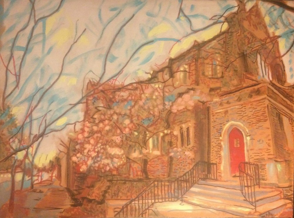 "View From the North West Corner is one of a set of paintings in ""Scenes From Christ Church,"" by John Kushmaul, at Little Rock's Christ Episcopal Church, on display through Sept. 30."