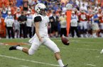 Vanderbilt punter Sam Loy kicks against Florida during the second half of an NCAA college football game, Saturday, Sept. 30, 2017, in Gainesville, Fla. Florida won 38-24. (AP Photo/John Raoux)