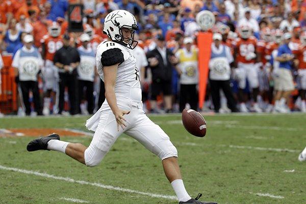 Vanderbilt punter Sam Loy kicks against Florida during the second half of an NCAA college football game, Saturday, Sept. 30, 2017, in Gainesville, Fla. Florida won 38-24. (AP Photo/John Raoux)