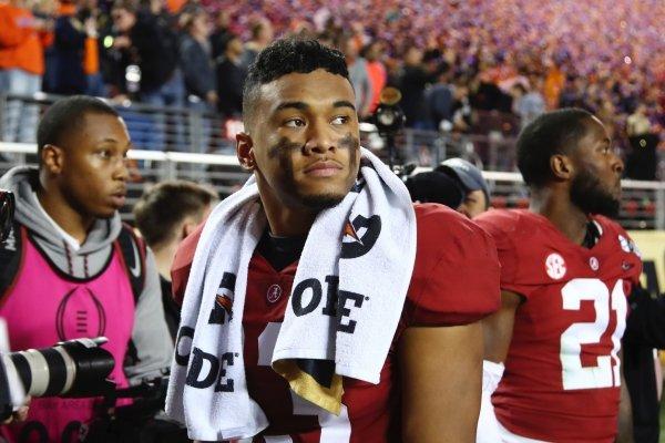 Alabama's Tua Tagovailoa reacts after the NCAA college football playoff championship game against Clemson, Monday, Jan. 7, 2019, in Santa Clara, Calif. Clemson beat Alabama 44-16. (AP Photo/Ben Margot)