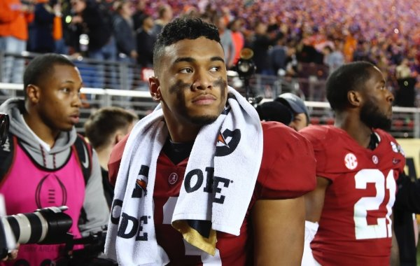 Alabama's Tua Tagovailoa reacts after the NCAA college football playoff championship game against Clemson, Monday, Jan. 7, 2019, in Santa Clara, Calif. Clemson beat Alabama 44-16. (AP Photo/Ben Margot)