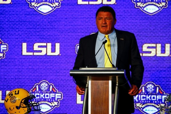 Head coach Ed Orgeron, of LSU, speaks during the NCAA college football Southeastern Conference Media Days, Monday, July 15, 2019, in Hoover, Ala. (AP Photo/Butch Dill)