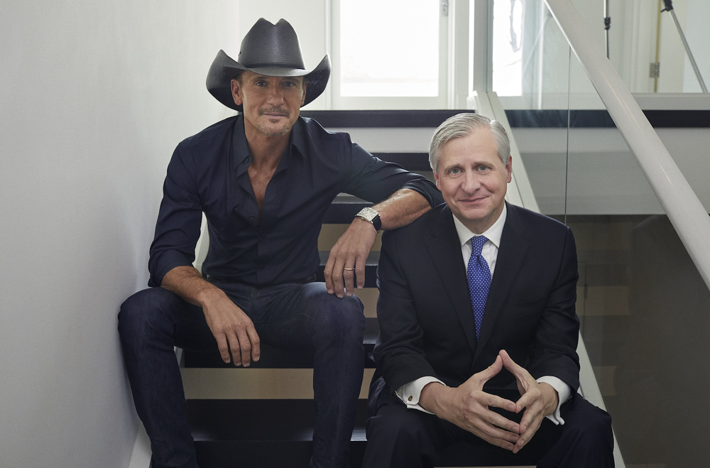 "Tim McGraw (left) and Jon Meacham, authors of ""Songs of America: Patriotism, Protest, and the Music That Made a Nation"" (Random House)"