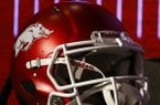 An Arkansas football helmet is shown during SEC Media Days on Wednesday, July 17, 2019, in Hoover, Ala. (AP Photo/Butch Dill)