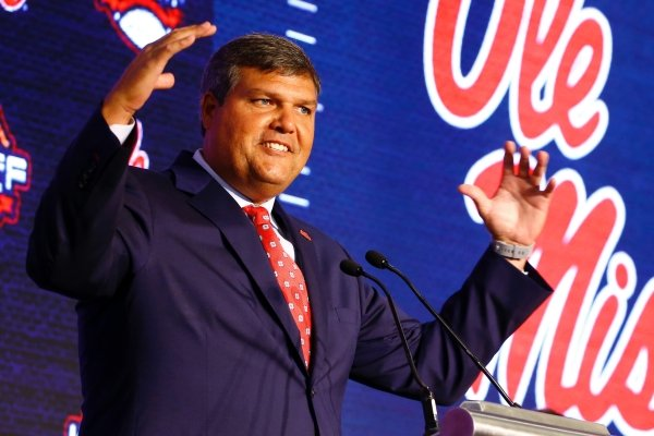 Mississippi head coach Matt Luke speaks during the NCAA college football Southeastern Conference Media Days, Tuesday, July 16, 2019, in Hoover, Ala. (AP Photo/Butch Dill)