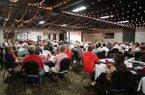 Arkansas athletics director Hunter Yurachek speaks at the Northwest Arkansas Touchdown Club on Wednesday, Sept. 5, 2018, at Mermaids restaurant in Fayetteville.