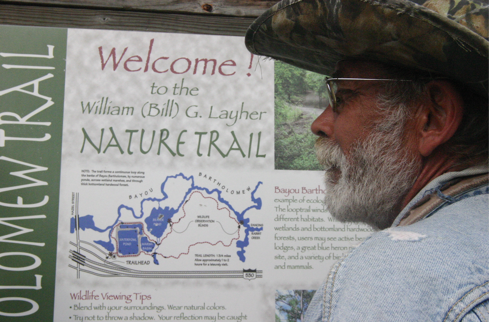 The nature trail at Bayou Bartholomew was named for William Layher in honor of his work in restoring the bayou. He is believed to be the only modern person who has traveled the entire length of the world's longest bayou. (Special to the Democrat-Gazette/DEBORAH HORN)