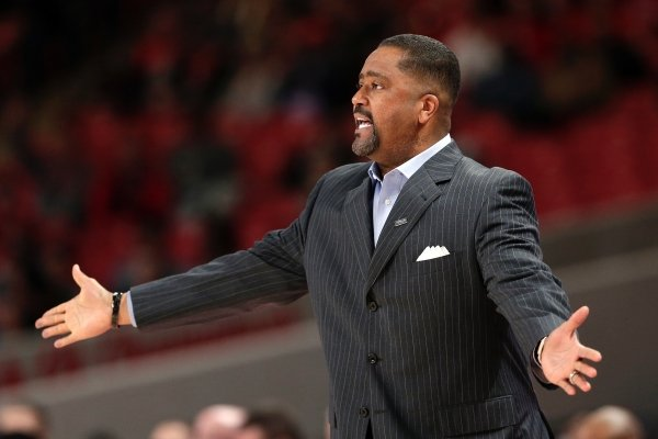 Tulsa coach Frank Haith reacts to a foul call during the first half of the team's NCAA college basketball game against Houston on Wednesday, Jan. 2, 2019, in Houston. (AP Photo/Michael Wyke)