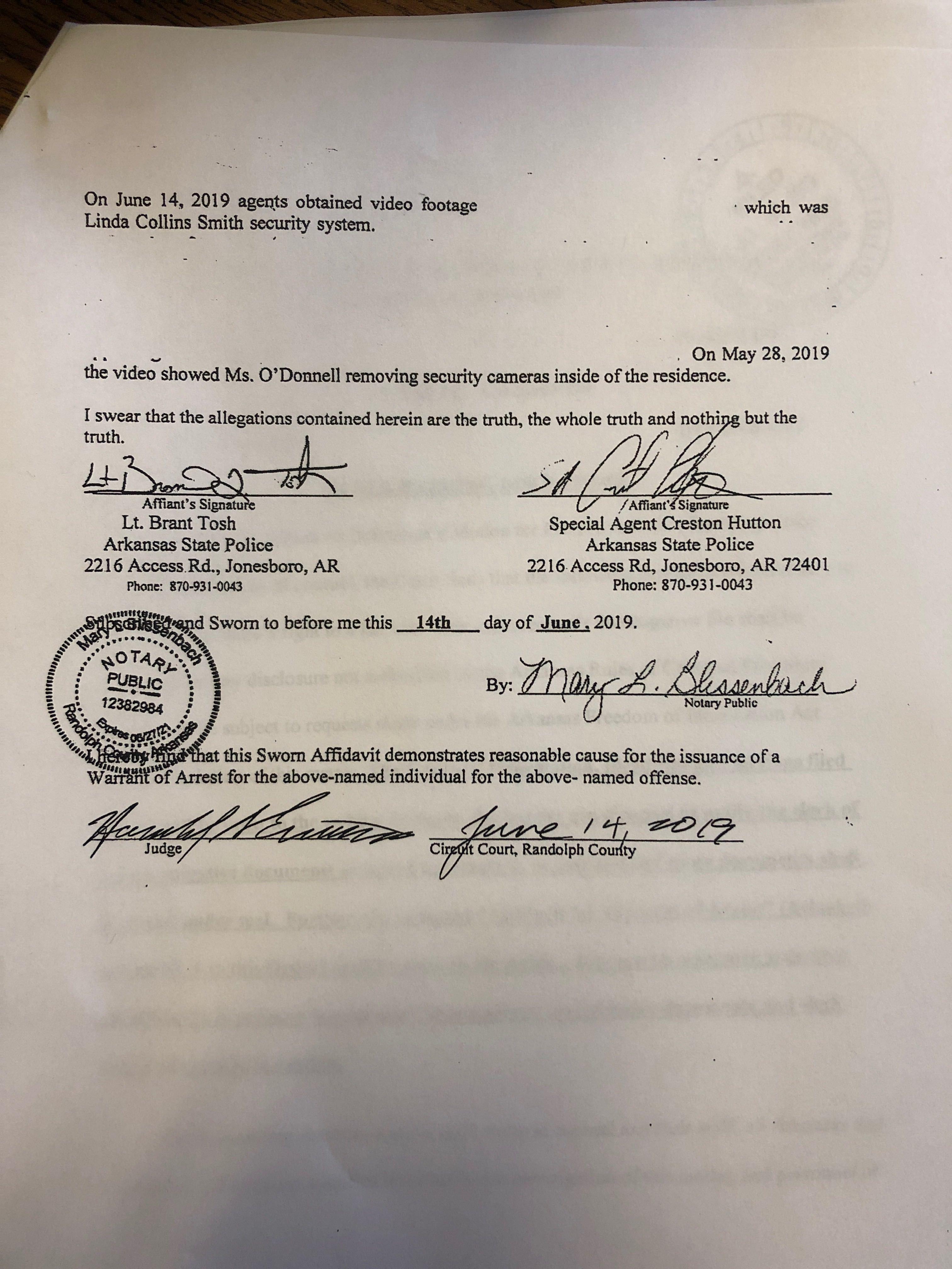Rebecca O'Donnell affidavit