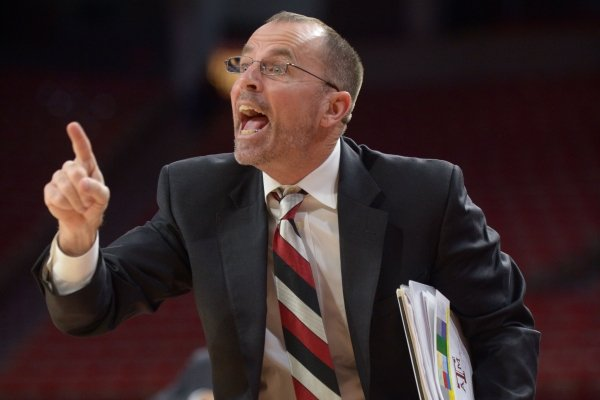 Arkansas assistant coach Todd Schaefer directs his players against Texas A&M's Thursday, Feb. 22, 2018, during the second half in Bud Walton Arena. Visit nwadg.com/photos to see more photographs from the game.