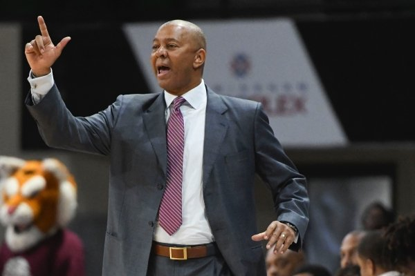 Texas Southern head coach Johnny Jones talks to the team from the sidelines during the first half of the SWAC championship NCAA college basketball game against Prairie View A&M Saturday, March 16, 2019, in Birmingham, Ala. (AP Photo/Julie Bennett)